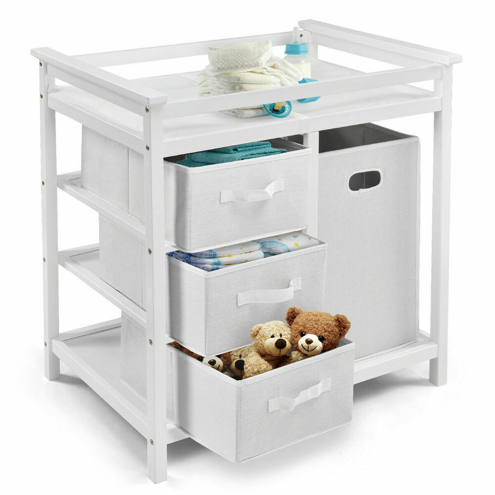 Baby Wickeltisch White Infant Baby Changing Table 3 Basket Hamper Diaper