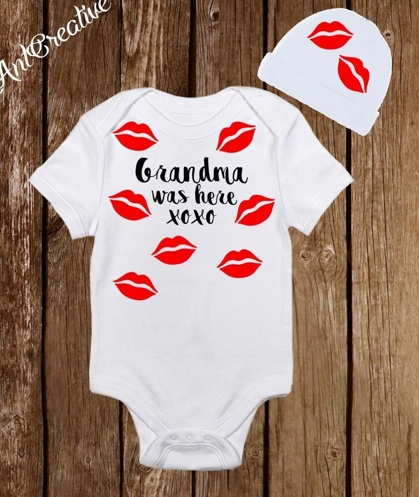 Baby Newborn Unisex Clothes Grandma Was Here Kisses Baby Girl Boy Clothes Onesies Hat
