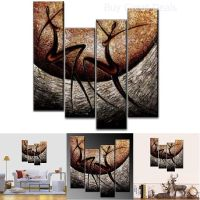 4-Piece African Dancers Hand-Painted Canvas Stretched and ...