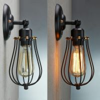 VINTAGE INDUSTRIAL LOFT RUSTIC CAGE SCONCE WALL LIGHT WALL ...
