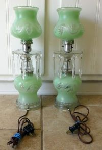 Pair Vintage Crystal Table Lamps With Cut Hanging Prisms ...