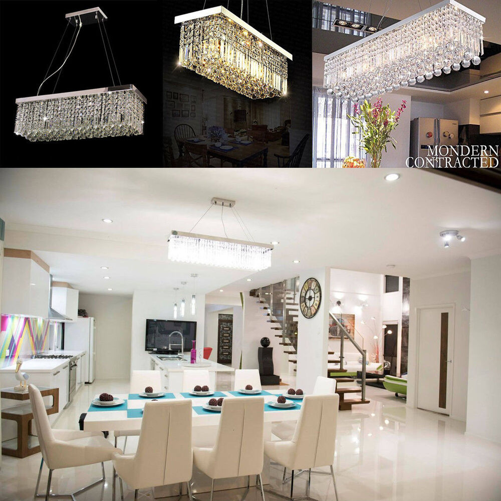 Kitchen Pendant Lighting Height Rectangle K9 Crystal Chandelier Dining Room Light Fixtures