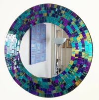 Round purple teal mosaic wall mirror 40cm-hand made in ...