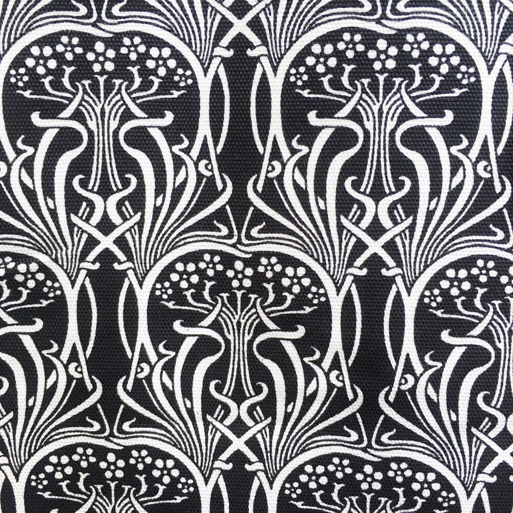 Tissu Bouchara Art Nouveau Fabric, Cotton Duck, Black & White, Upholstery