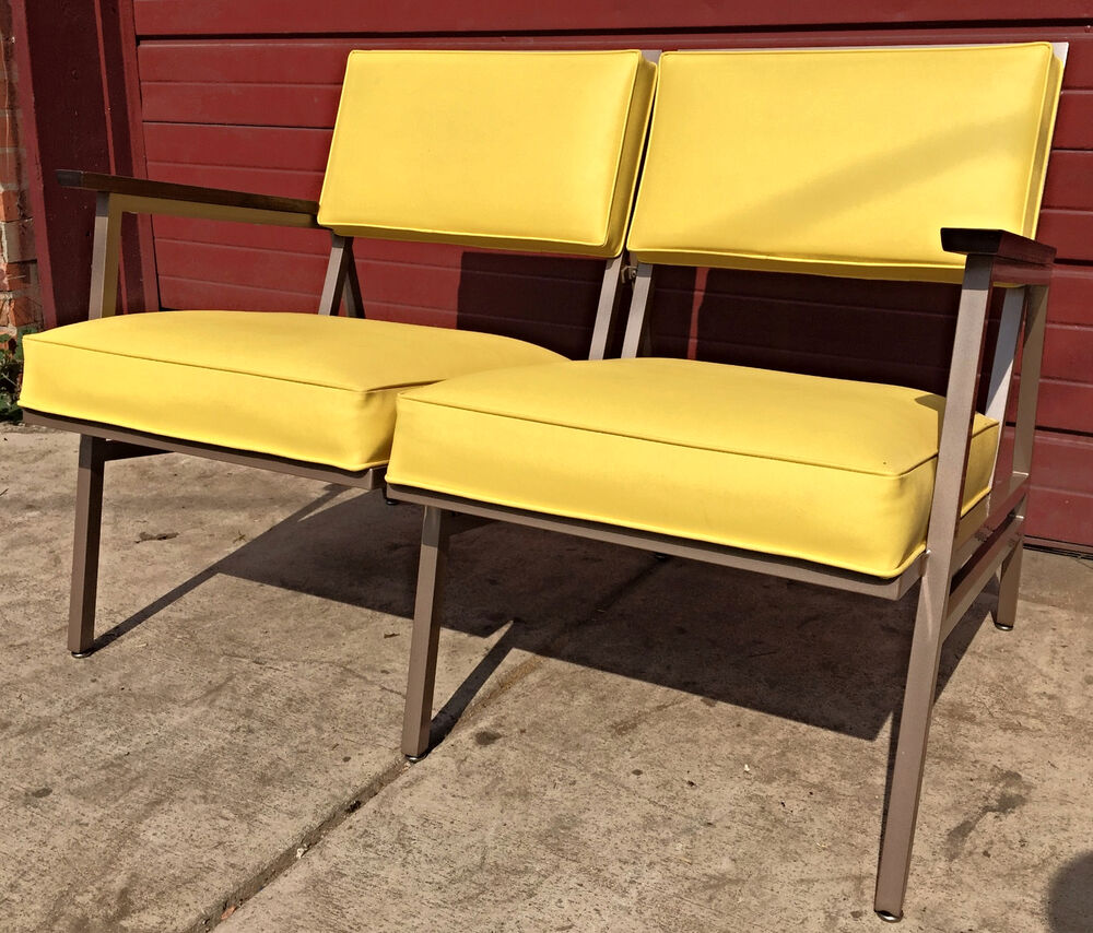 Retro Sofa Wood Perfect Rare Vintage Retro 1950 S Steelcase Couch Mid Century Wood Arm Free Ship Ebay