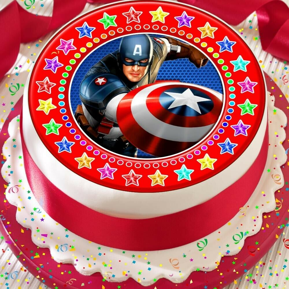 Captain America Kuchen Captain America Star Border Precut Edible Birthday Cake Topper Decoration Ebay