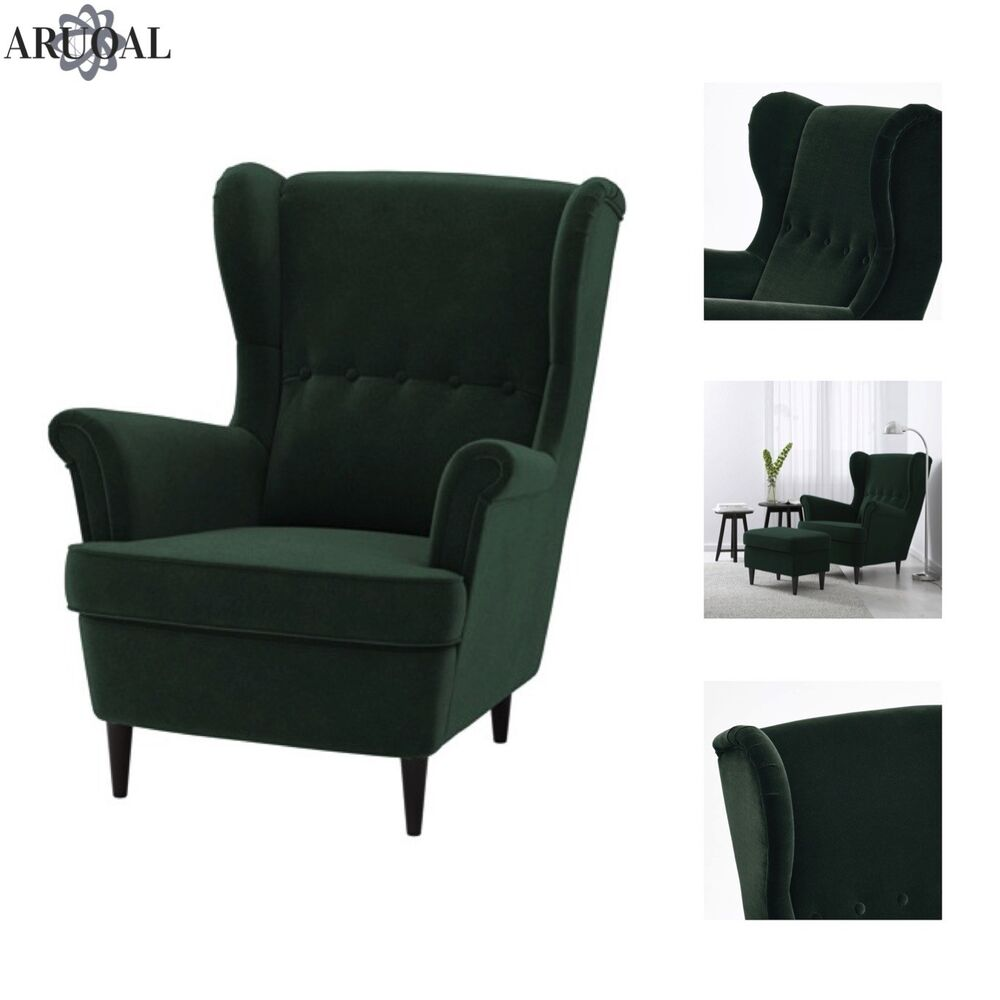 Ikea Relaxstuhl Ikea Strandmon Wing Chair High Back In Dark Green Stool Not Included Ebay