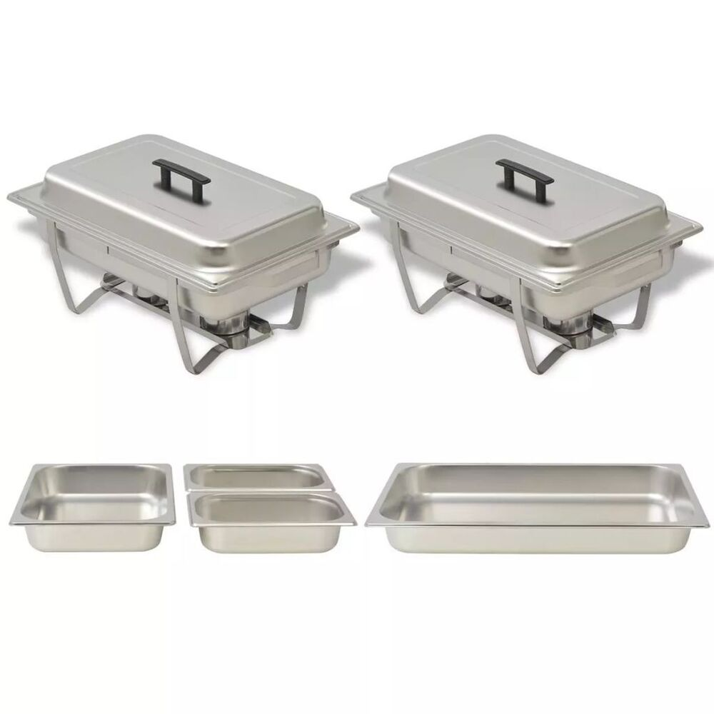 Set Da Cucina Exclusive Chafing Dish Set Stainless Steel 2pc Kitchen Catering Party Hot Food Warmer Pans Ebay