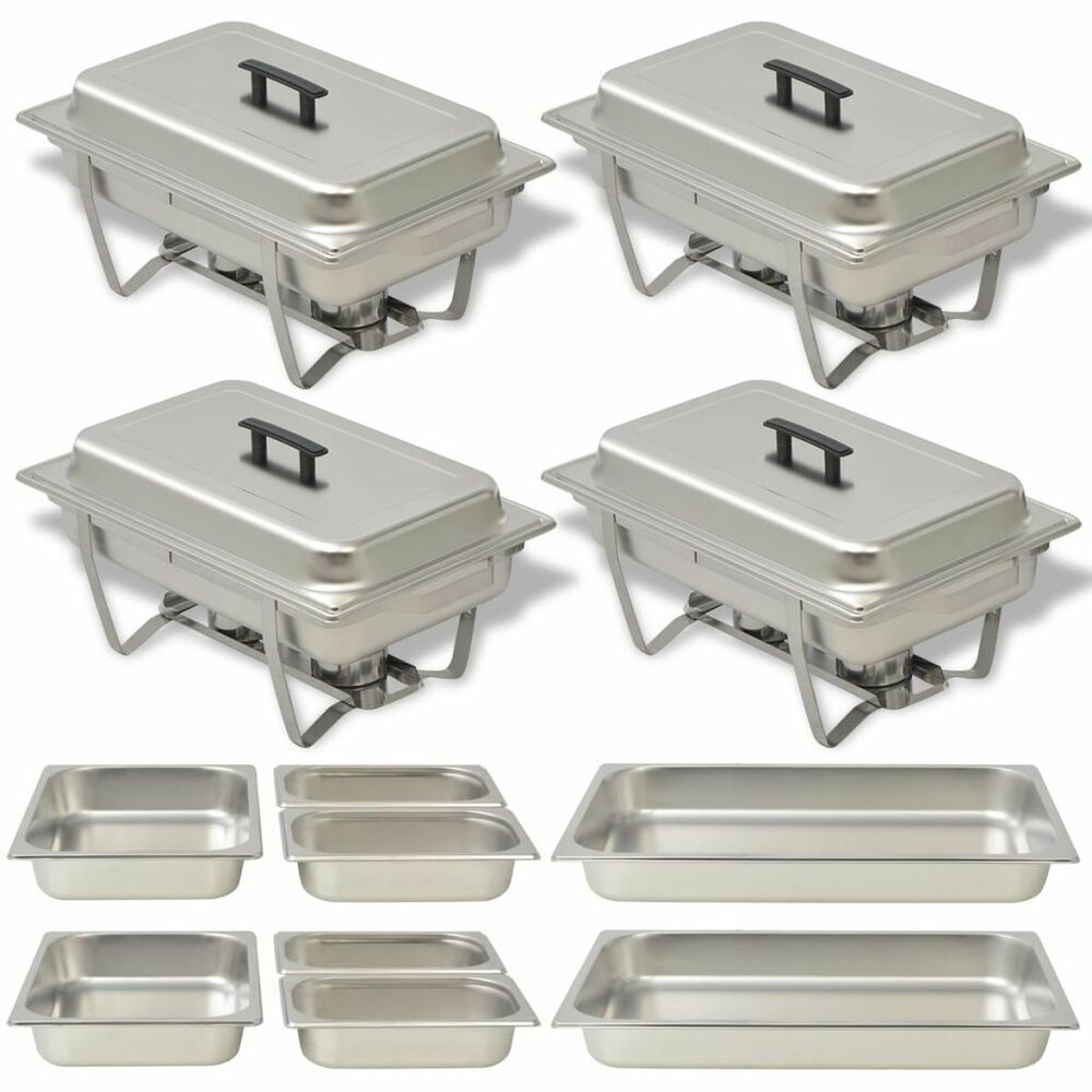 Set Da Cucina Exclusive 4 Chafing Dish Set Stainless Steel Kitchen Catering Party Hot Food Warmer Pans Ebay