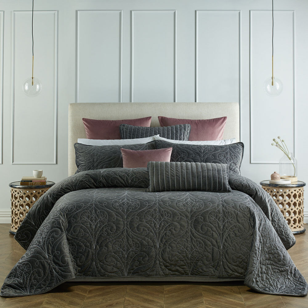 Single Coverlet Bianca Genevieve Coal Coverlet Set Bedspread Single Double Bed Size 9316751010832 Ebay