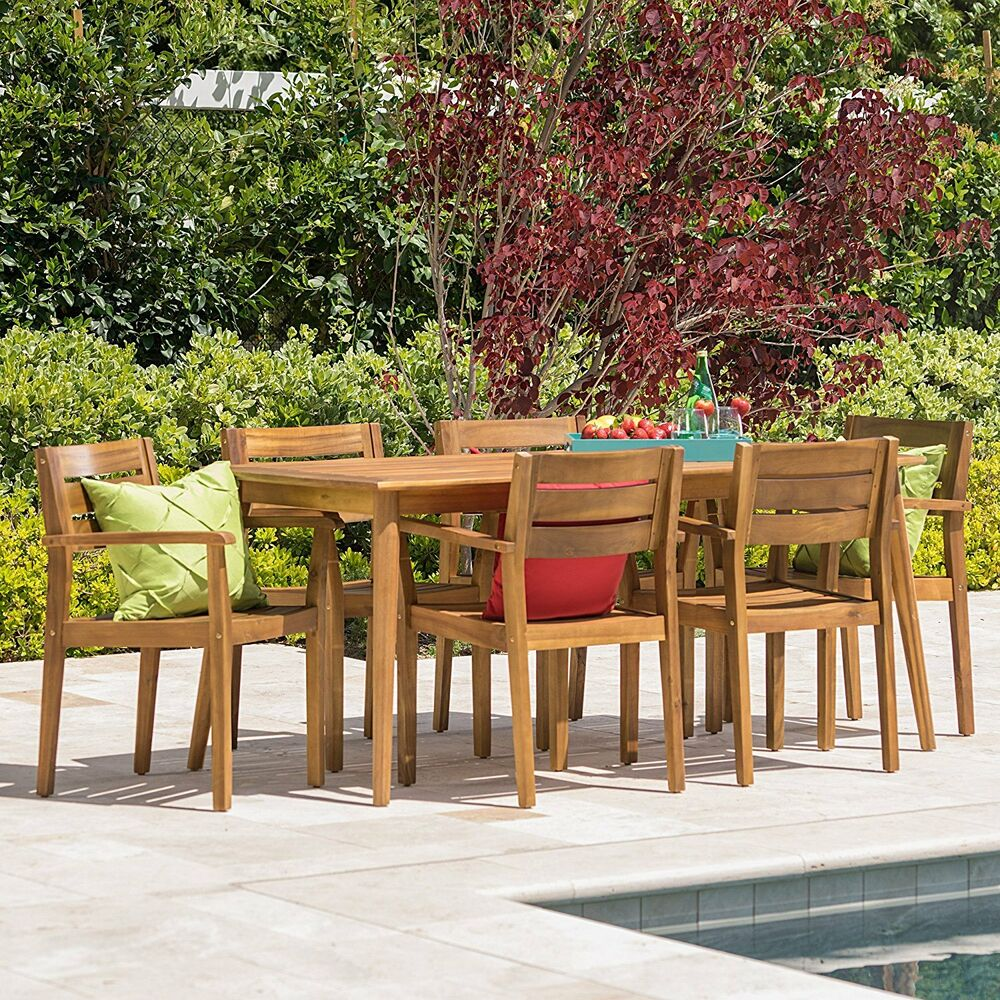 7 Piece Patio Set 7 Piece Acacia Wood Outdoor Bbq Deck Dining Set Patio Furniture Table Chairs New 637162927502 Ebay