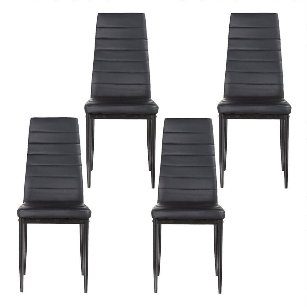 Chairs Comfortable Kenwell Set Of 4 Stunning Dining Chairs Comfortable Black Leather Dining Room 699975114227 Ebay