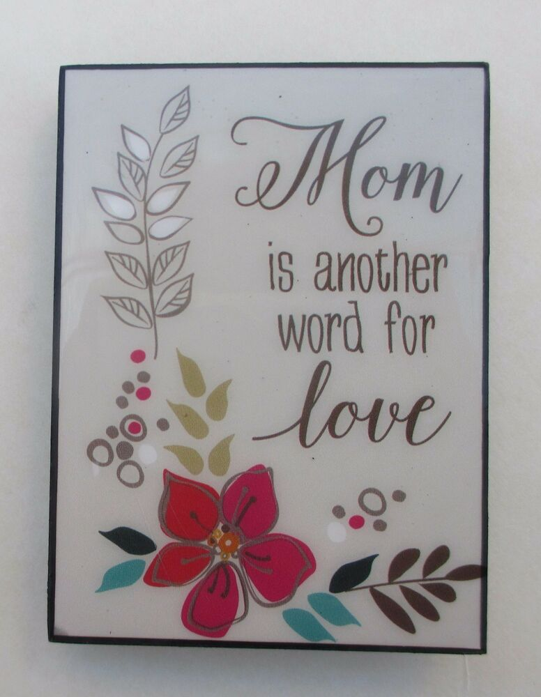 T Mom is another word for love MINI DESK PLAQUE Ganz easel eBay