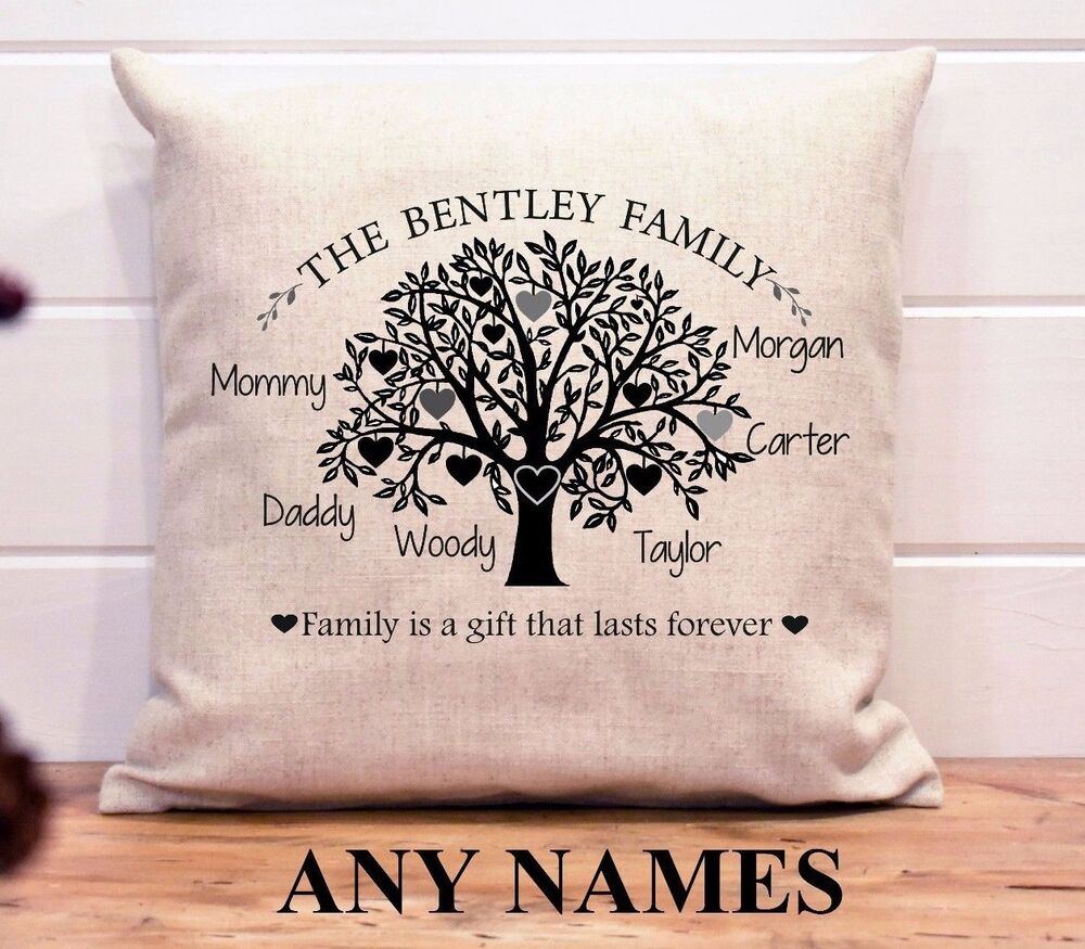 Personalised New Home Gifts Personalised Cushion Cover Family Tree Names New Home Gift Birthday Linen Ebay