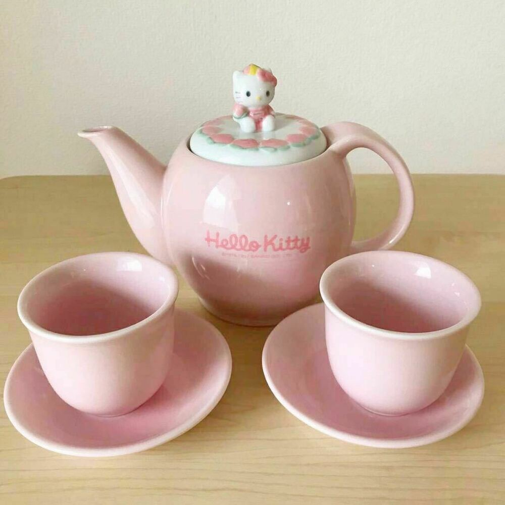 Teapot With Cup Hello Kitty Teapot Cup Saucer Set Chinese Series Pottery 1997 Sanrio Rare Jp Ebay