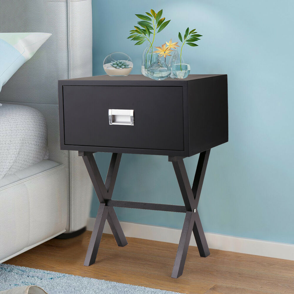 End Table For Living Room Sofa Bedside End Table Nightstand Living Room Home Decor W Drawer Beam Black Ebay