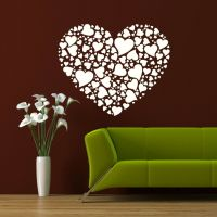 COLLAGE LOVE HEARTS HEART WALL ART DECAL TRANSFER giant ...