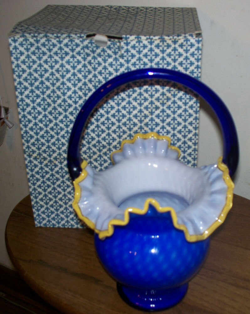 Lavorazione Arte Murano Made In Italy Arte Murano Kristall Mery Cobalt Blue Vase W Handle Made In Italy Ebay