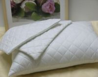2 X White 100% Cotton Quilted Pillow Protectors with Zip ...