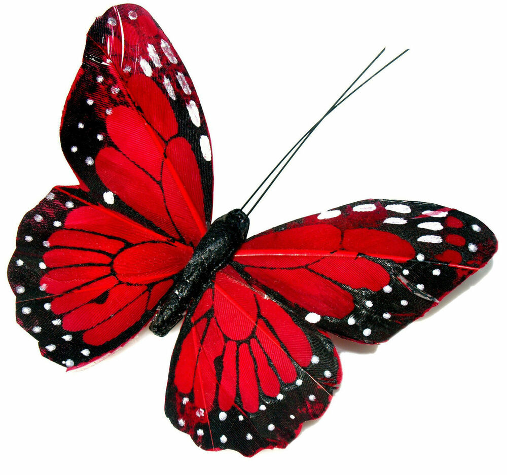 Roter Schmetterling 24 X Pretty Red Butterflies Edible Cupcake Toppers Rice