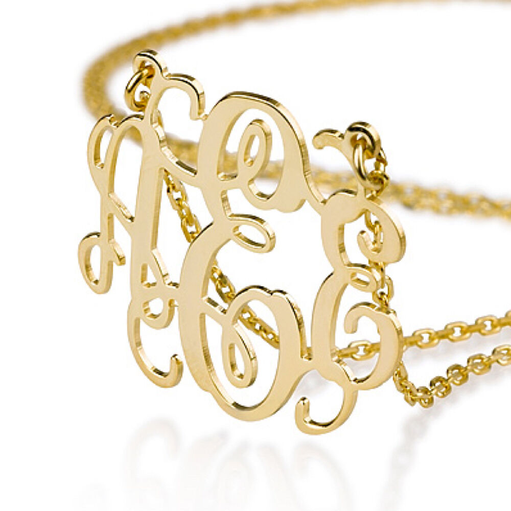 Monogram Necklace 18k Gold Plated Over Sterling Silver