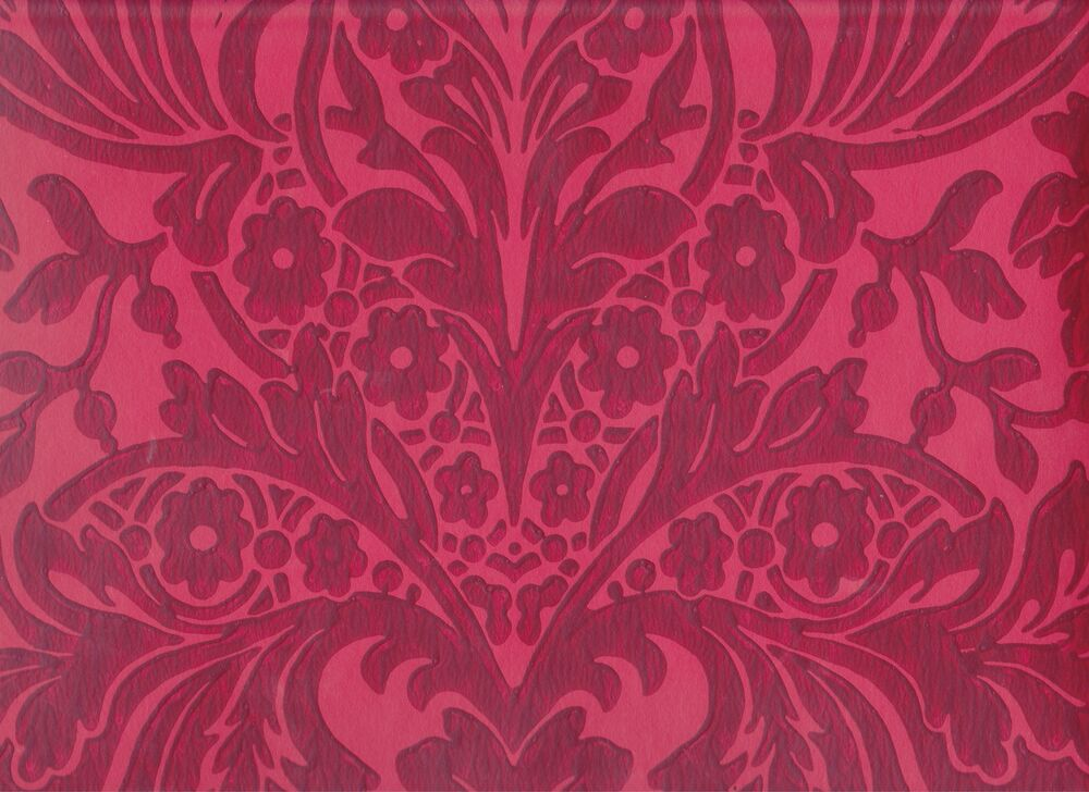 3d Wave Flocking Wallpaper Historic Reproduction Wallpaper 18th 19th Century Red