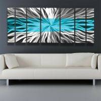 Metal Wall Art Blue Modern Abstract Sculpture Painting ...