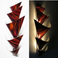 Modern Abstract Metal Wall Art Torchiere Lamp Painting