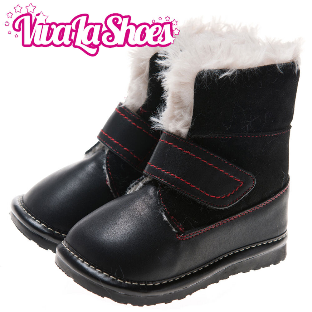Girls Boys Toddler Suede Leather Squeaky Boots Black