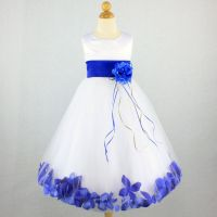 ROYAL BLUE Flower Girl Dress Petals Pageant Party Gown ...