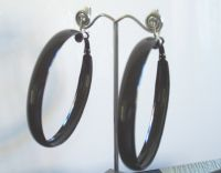 Huge hoop clip-on earrings - black - pierced option | eBay