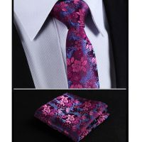 Mens Tie Fuschia Pink Blue Purple Floral Paisley Silk