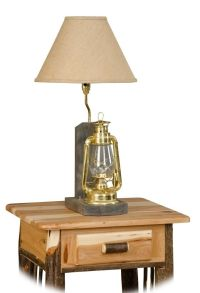 Rustic Hickory Lantern Table Lamp- Amish Made USA | eBay