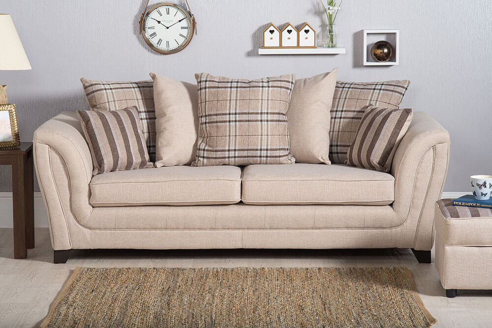 Chesterfield Sofa Beige New Shannon Fabric 3 + 2 Seater Sofa / Settee Cuddle Chair