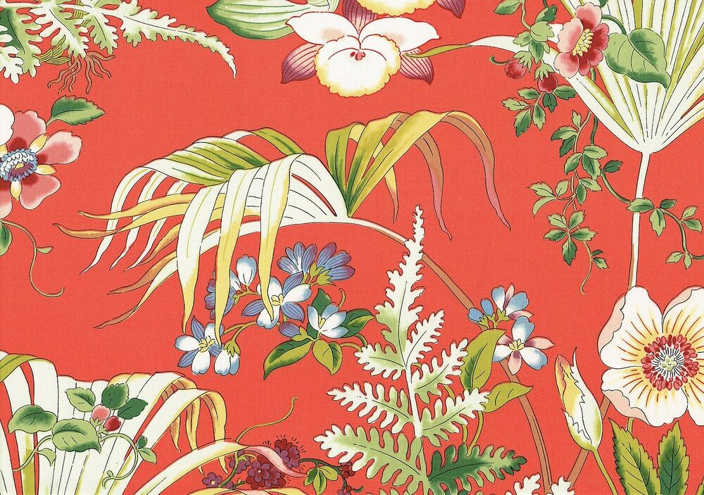 Shabby Chic Shop Jay Yang Fabric Jamaica Coral Cotton Coral Green Blue