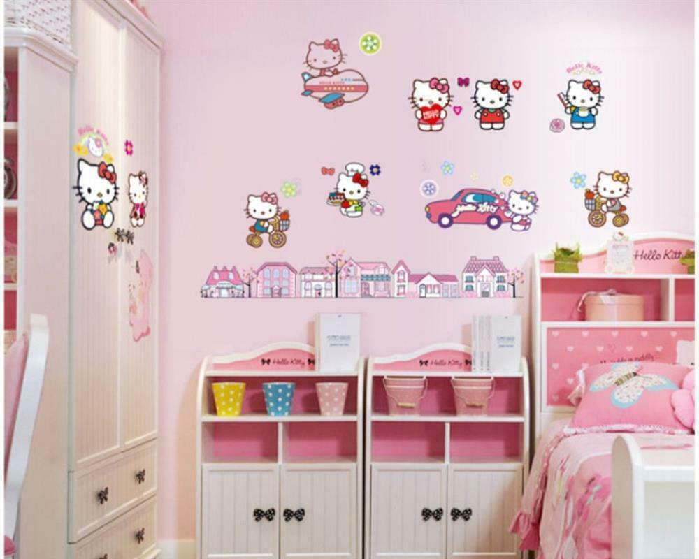 Hello Kitty Kinderzimmer Hello Kitty Motive Mädchen Wandbild Wandtattoo Wandposterxxl 60 X 100 W183 Ebay