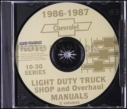 1986 Chevy Truck CD Shop Manual and Wiring Diagrams Pickup Blazer