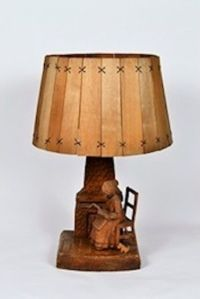 Handcrafted Wooden Lamp with Wood Shade | eBay