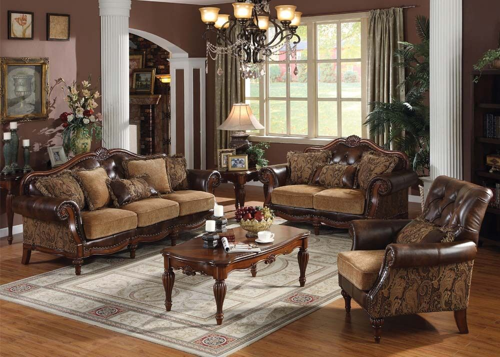 Living Room Sofas Sets Dreena Set 3 Pcs Sofa Loveseat Chair Leather & Chenille