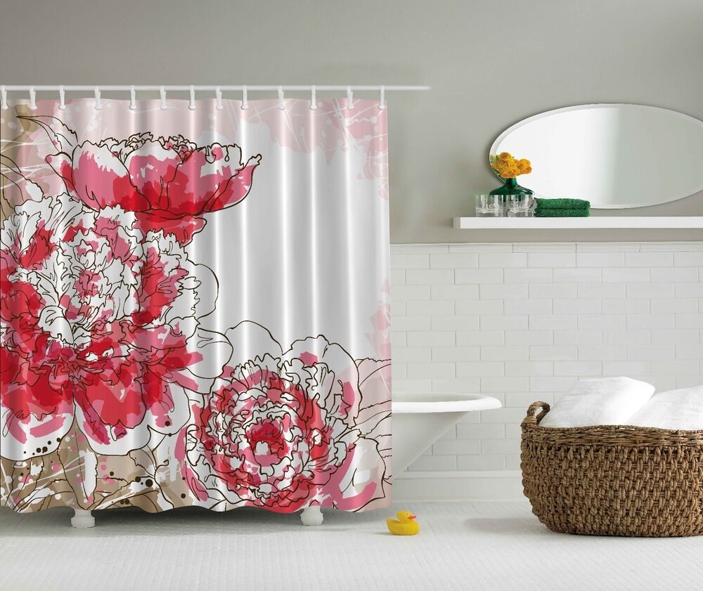 Vorhang Blumen Big Pink Flowers Beige White Floral Fabric Shower Curtain