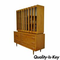 Vtg Mid Century Danish Modern Teak Walnut China Cabinet ...