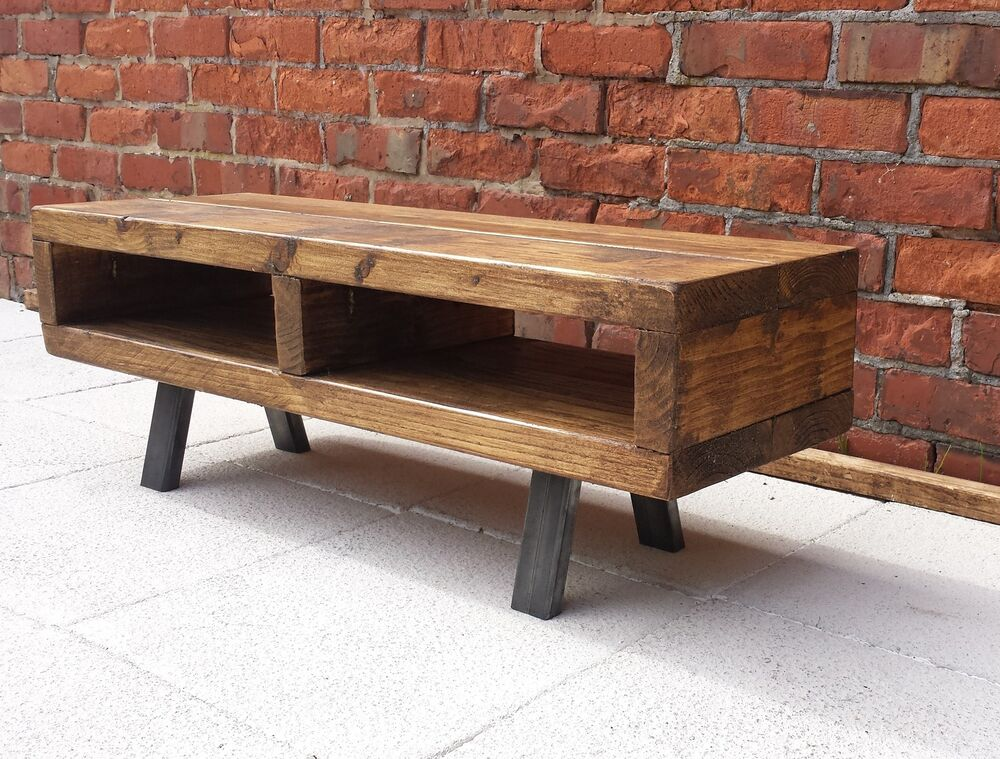 Contemporary Rustic Industrial Tv Stand Unit Cabinet Or