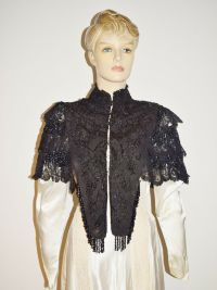 1800s Victorian Silk Glass Beaded Mourning Capelet Antique ...