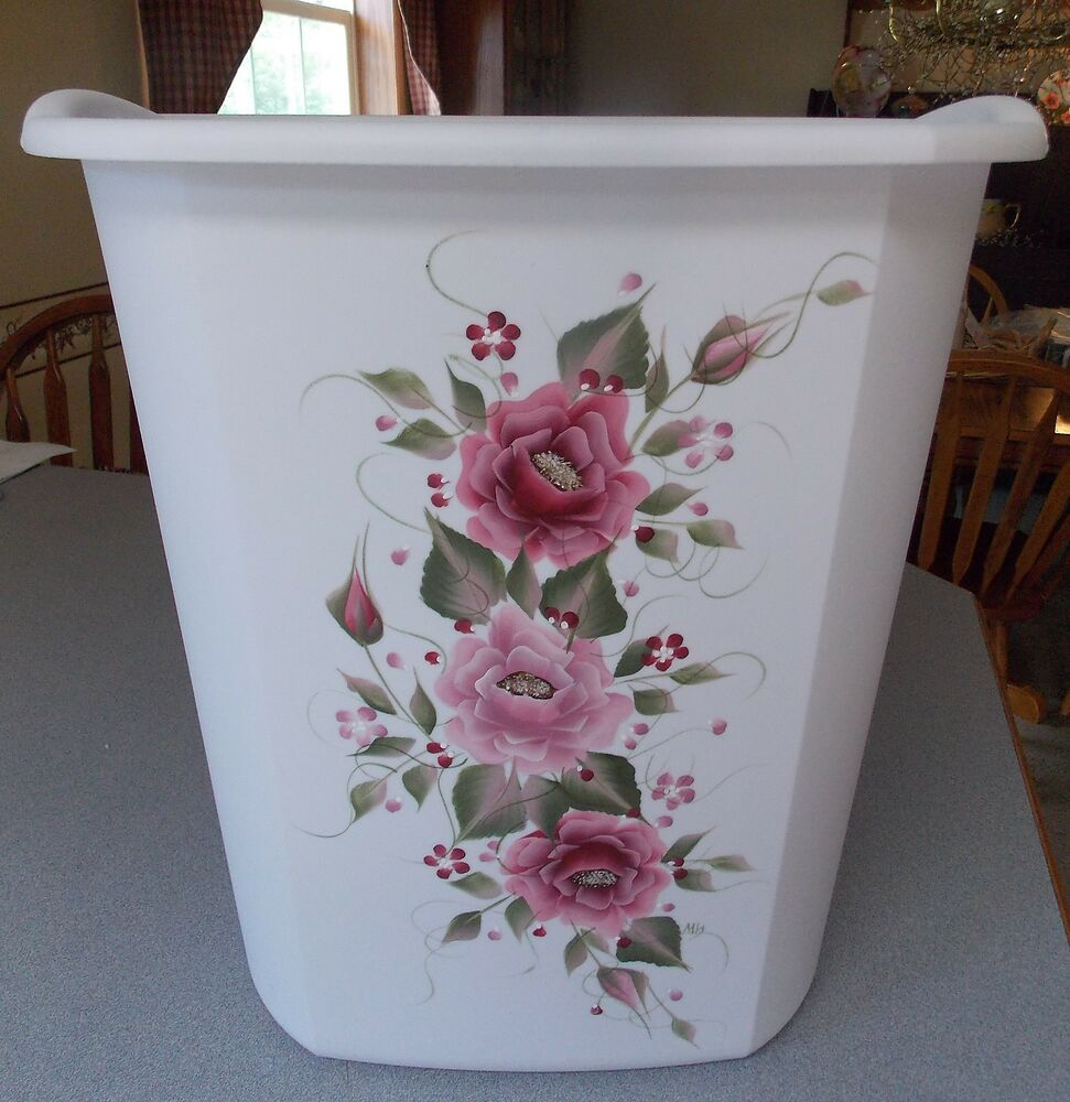 Shabby Chic Waste Baskets Hp Roses Shabby To Chic Waste Paper Basket New Item Pink Burgundy Roses Ebay