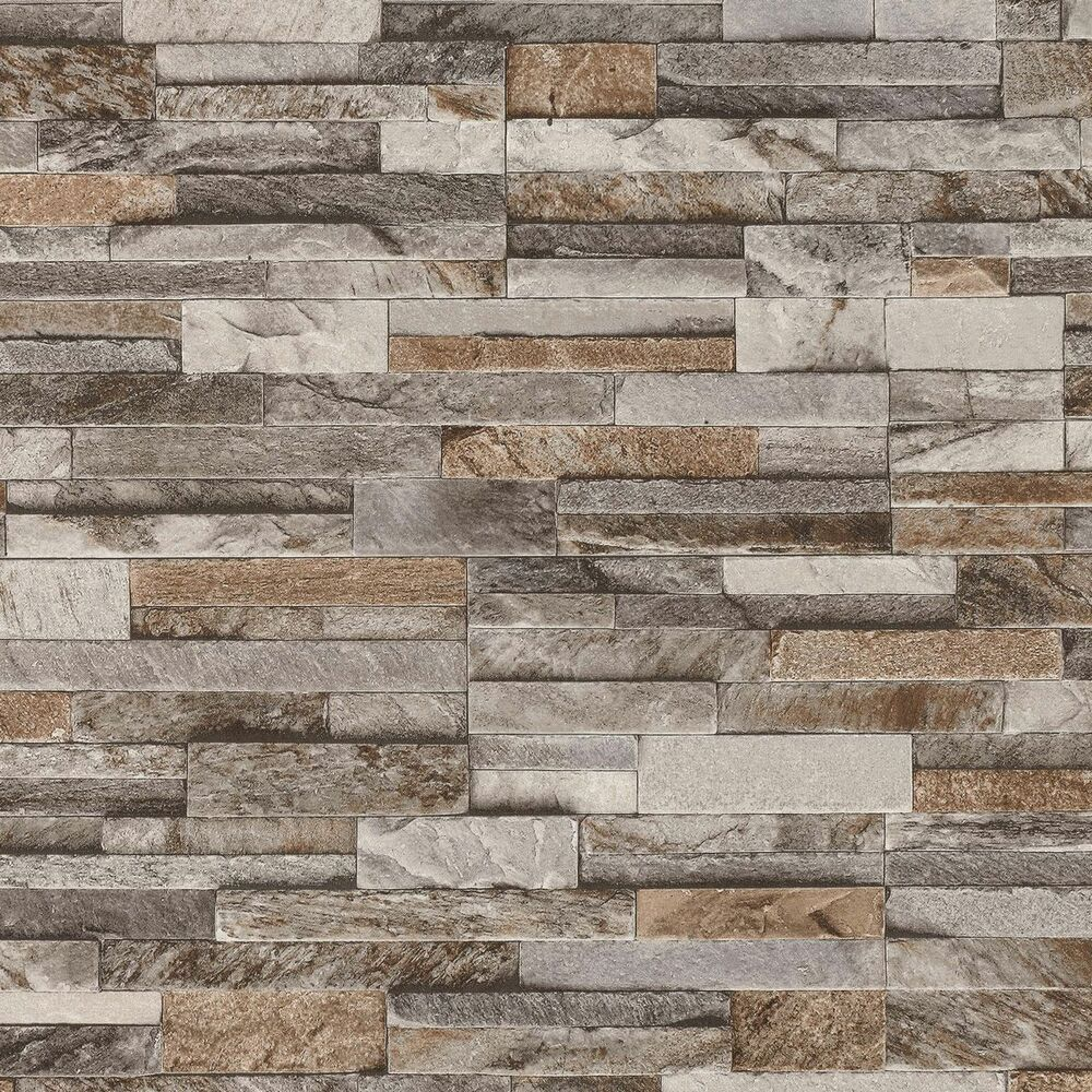 3d Brick Wallpaper Uk Brick Wall Stone Brown Beige Grey Slate Tile Wall Feature