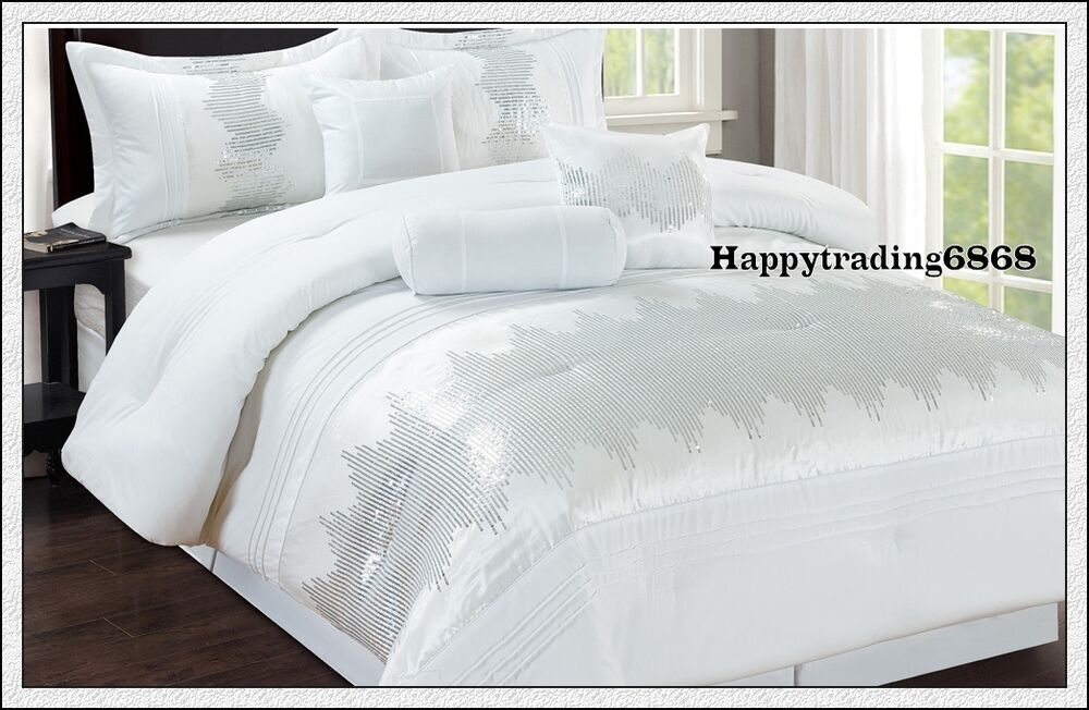 White Sequin Embr Pintuck 7pc King Queen Comforter Set