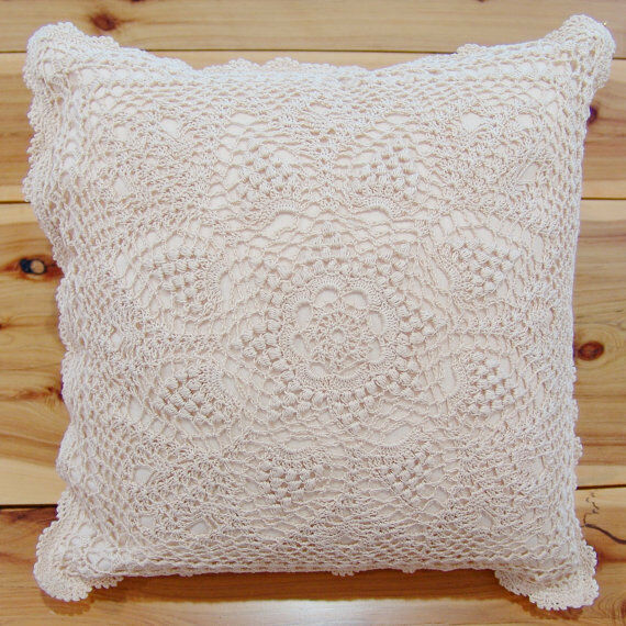 Hand Crochet Lace Cushion Cover Throw Pillow Cover Hand