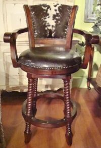 Set of 3 Barstool Arms Hair on Hide Brindle Cowhde Swivel