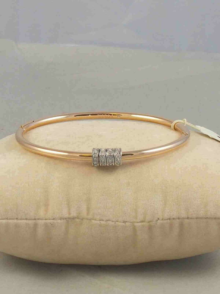 Fossil Brand Rose Gold Starter Slider Charm Hinged Bangle