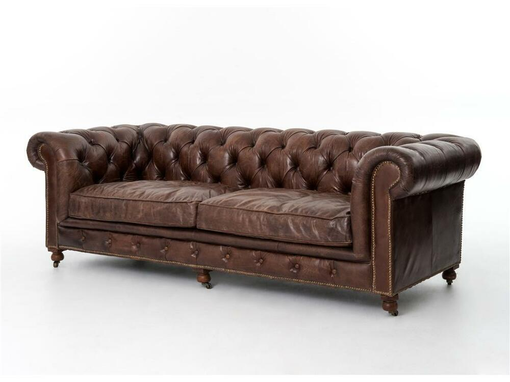 Chesterfield top grain cigar brown distressed leather
